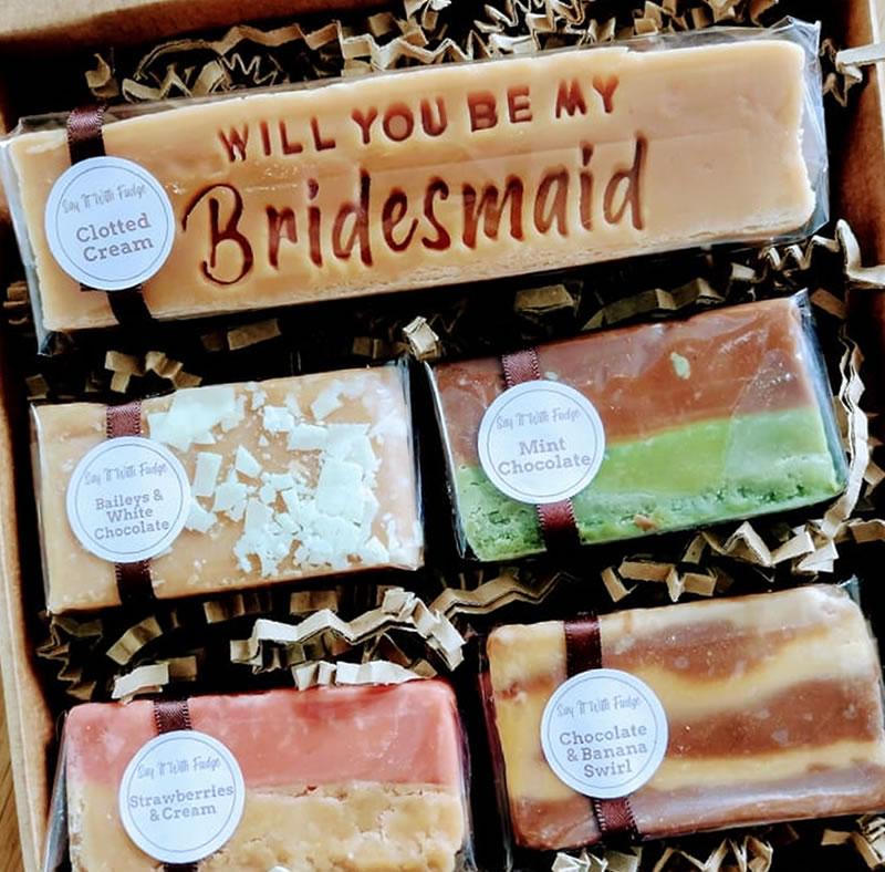 bridesmaid proposal gift fudge