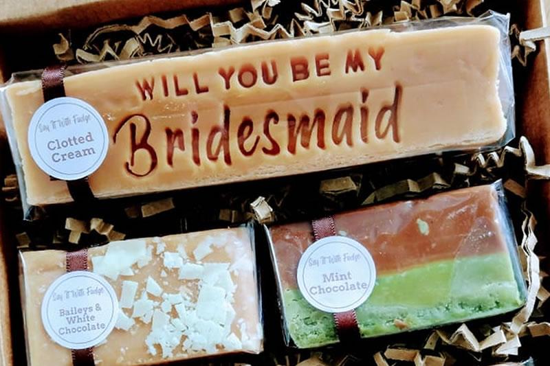 bridesmaid proposal gift box fudge