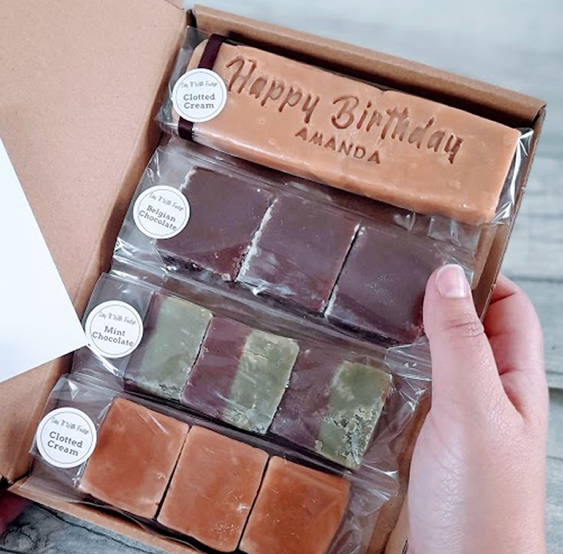 letterbox friendly fudge BIRTHDAY gift box