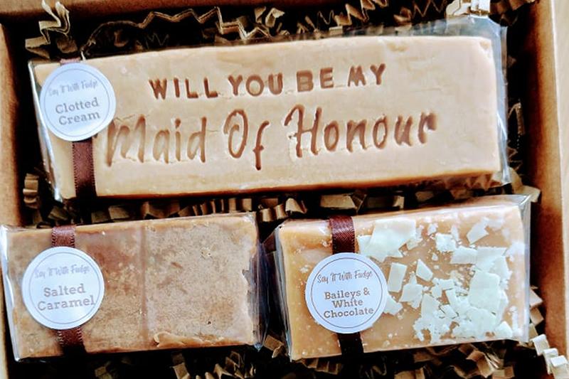 maid of honour proposal gift box fudge